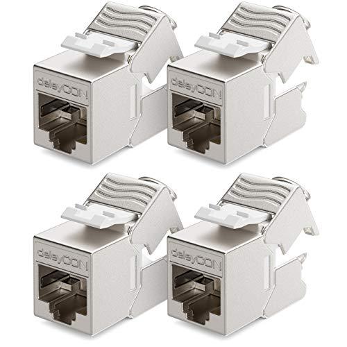 deleyCON 4X CAT6a Mini Keystone Jack Modul Patchkabel Netzwerkkabel Verbinder STP Schirmung RJ45 Buchse Netzwerk Dose Patchpanel Keystonehalterung Erweiterung