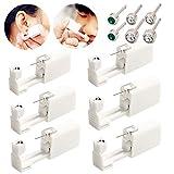 Lot de 6 pistolets jetables pour piercings d'oreilles avec clous d'oreille -Sans douleur - Kit de piercing d'oreilles pour femmes et hommes