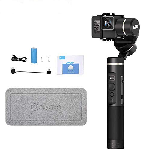 FeiyuTech G6 Gimbal Stabilizer for Gopro 3-Axis Handheld Gimbal for Action Camera Hero 8,7,6,5/Sony RX0/Yi 4k/DJI Osmo Spalsh-Proof,WiFi&Bluetooth,Metal Texture with Screen,Offical-Authorized