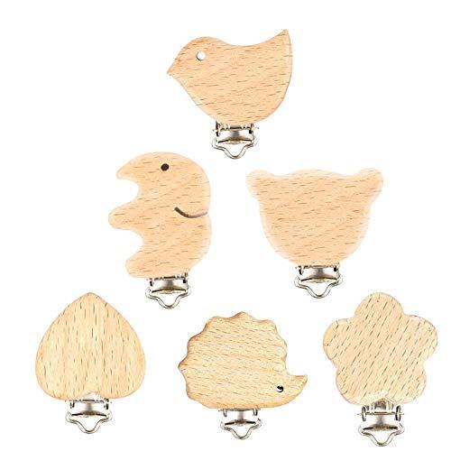 Schnuller Clip, 6 Stück Holz Schnullerclips Set, Schnullerketten Clips Schnuller Halter Baby Beißring für Neugeborene Krankenpflege Spielzeug Säugling Schnuller Verschlüsse Halter Zubehör