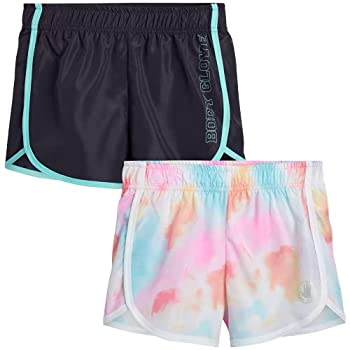 Body Glove Girls 2 Pack Athletic Gym Workout Yoga Running Shorts Size 10 Rainbow Tie-Dye/Charcoal