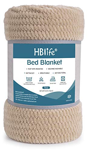 "HBlife Microfiber Luxury Flannel Fleece Throw Blanket, Super Soft & Cozy Waffle Weave Pattern Plush Blanket, 50"" x 70"" Camel"