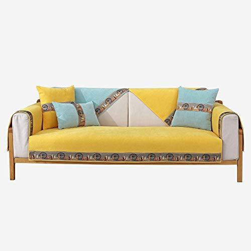 Homeen Funda de sofá Impermeable,Funda de sofá de Tela para Sala de Estar,Moderna Funda de sofá de Chenilla,Funda Antideslizante,Resistente al Desgaste y Que no se decolora,Encaje de Noria-Amarillo_L