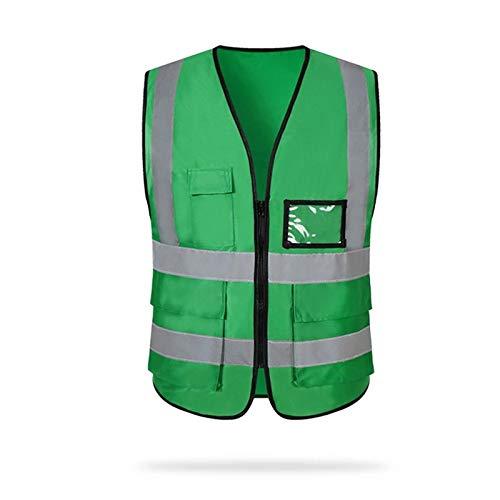 DYecHenG Chaleco de Seguridad Reflectante Chalecos de Seguridad con Bolsillos y Cremallera de Construcción del Chaleco de los Hombres y Las Mujeres para Seguridad y Protección