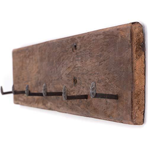 rustieke WANDKAST Boerderij 90 | 90x15x8 cm (BxHxD), oud hout | haakje met 6 kapstokjes in sjofele stijl