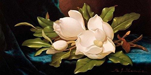 WANDAFBEELDING-op-CANVAS-Giant-Magnolia's-op-Blauw-Doek-Heade-MartinJohnson-Bloemen-Print-op-canvas-op-houten-frame-voor-wanddecoratie-Afbeelding-gedruckt-Afmeting-89_X_180_cm