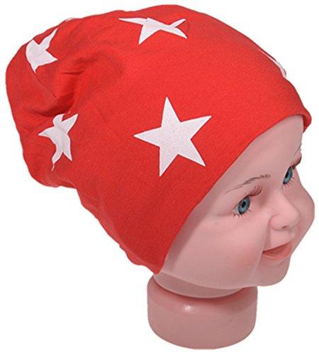 Berretto lungo in jersey, da bambino, unisex, con cotone, motivo con stella Piccola stella rossa. 43-47cm Kopfumfang