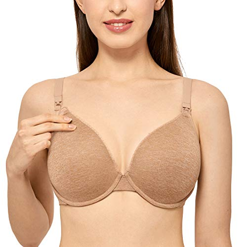 Gratlin Women's Full Coverage Lightly Padded Underwire Maternity Nursing Bra for Breastfeeding