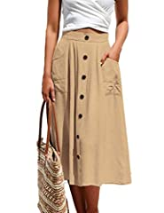 Light weight,durable and breathable material,not see-through Features:button decoration,a-line design,two pockets on both side,elastic waist on the back,high waisted,solid color Occasions:great for daily casual,beach,home,party,shopping,vocation,holi...