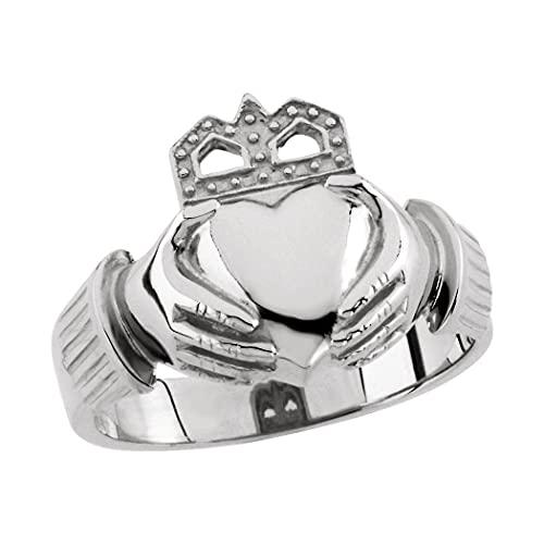 Anillo de plata de ley 925 pulido para hombre irlandés Claddagh celta Trinidad nudo tamaño V 1/2 joyería regalos para hombres