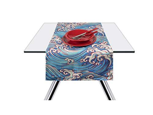 Excelsa Kimono Onde Runner da Tavola, Cotone 100%, Azzurro, 45 x 140 cm