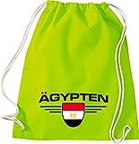Shirtstown Turn Bolsa Egipto, escudo, País, países, color lima, tamaño 37 cm x 46 cm