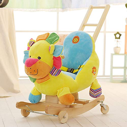 Review Kibten Cute Colorful Lion Plush Stuffed Animal Rocker Dual-use Wooden Baby Rocking Horse Indo...