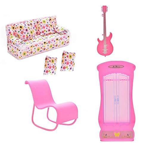 Gcroet Muebles del Dollhouse De La Muñeca De La Guitarra De Juguete Mini Sofá Sofá Guitarra Armario Ropero Mecedora Accesorios Cojines para La Muñeca Juega 6pcs