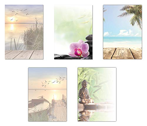 5 x 5 Blatt Motivpapier Briefpapier Mix DIN A4 Entspannung Urlaub Strand (Wellness-5234)