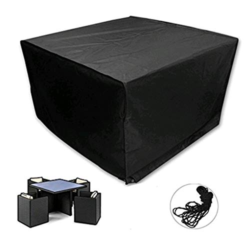 YYQIANG Rectangular Garden Table Cover, Waterproof Breathable Oxford Fabric Outdoor Furniture Cover - Black (Size : 270X180X89CM)