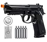 Umarex Beretta M92 A1 Co2 Blowback - Auto/Semi Airsoft Pistol with Included 5x12 Gram CO2 Tanks and Wearable4U Pack of 1000 6mm 0.20g BBS Bundle