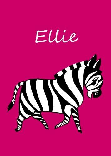 personalisiertes Malbuch / Notizbuch / Tagebuch - Ellie: Zebra - A4 - blanko