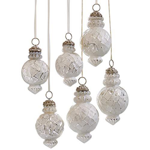 Loberon Weihnachtsschmuck 6er Set Célestine, Messing, Glas, antikweiß