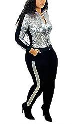 5148-Silver Long Sleeve Top+Metallic Shiny Pants Jumpsuit