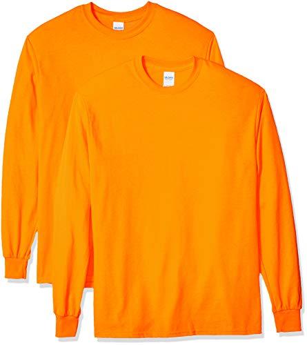 Gildan Men's Ultra Cotton Long Sleeve T-Shirt, Style G2400, 2-Pack, Safety Orange, 3X-Large