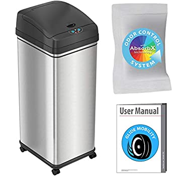 iTouchless Glide Sensor Trash Can Odor Control System Automatic Kitchen and Office Garbage Bin  Powered by Battery or Optional AC Adapter  13 Gallon Stainless Steel With Caster Wheels
