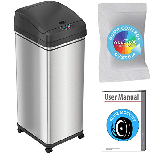 iTouchless Glide Sensor Trash Can Odor Control System, Automatic Kitchen and Office Garbage Bin...
