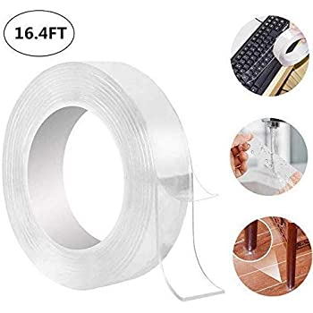 DBest Choice Traceless Washable Reusable double sided gel grip tape Adhesive Clear Transparent Anti-Slip Gel Pads Removable Sticky Strips Grip for Paste Photos and Posters Fix Carpet Mats 3M