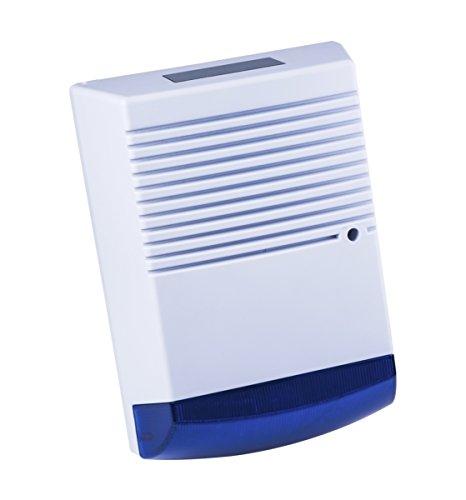 Falsa Alarma Antirrobo caja–funciona con energía solar–muñeco de alarma sirena–azul lente–parpadeo de la luz LED