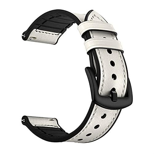 Fawyhr Banda de Reloj de Cuero de liberación rápida, 20 mm 22 mm Hebilla de Acero Inoxidable clásico SmartWatch Reemplazar Pulsera Pulsera de liberación rápida (Color : White, Size : 20mm)