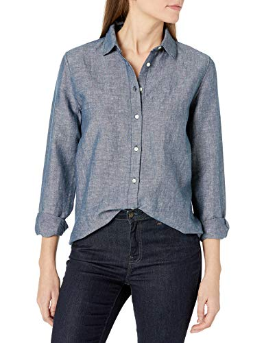 Amazon Essentials Relaxed-fit Long-Sleeve Linen Shirt Camisa, Azul Marino Crossdye, M