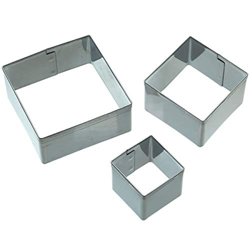 KitchenCraft Sweetly Does It Square Icing Cutter Set, Stainless Steel, 3 Pieces