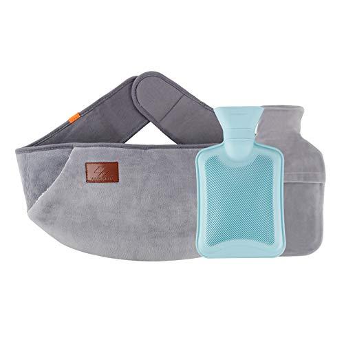 Jooheli Wärmflasche, Bis zu 4-6 Stunden warm, 3 in 1 Wärmflasche kautschuk mit Fleecebezug, ideal für Schmerzlinderung, Arthritis, Sportverletzungen, Ist das beste Geschenk für Familie und Freunde