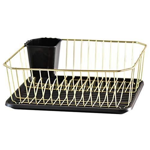heat Estante de drenaje dorado de limpieza antioxidante con bandeja de agua, estante de secado de vajilla para encimeras de cocina
