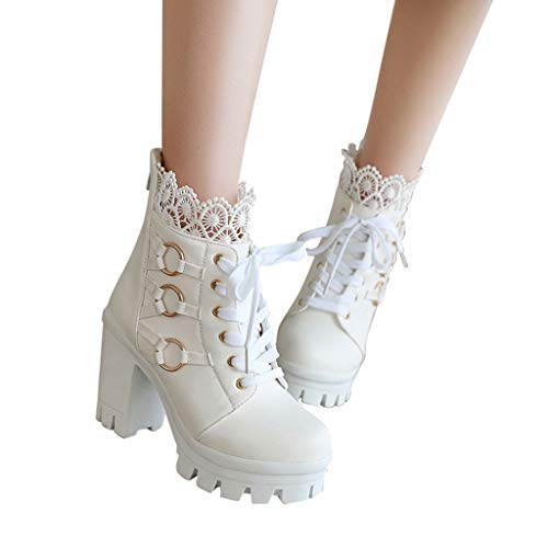Woolkey Ankle Booties for Women Lace Short Mid Calf Boots Round Toe Chunky Heel Solid Color Fashion Retro Zipper Lace up Work Knight Boots for Ladies Winter Office Party Wedding (White, 7.5)