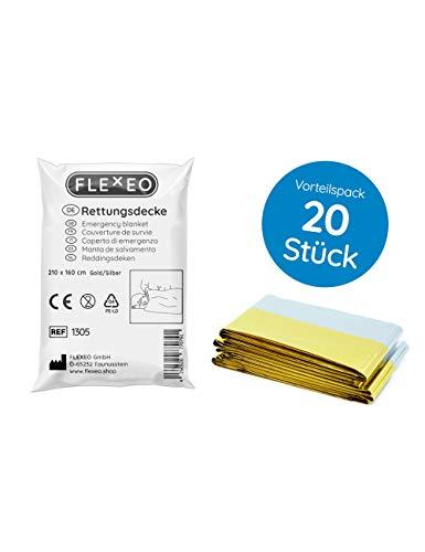 *Rettungsdecke 20er Set Notfalldecke Rettungsfolie (160 cm x 210 cm, silber/gold)*
