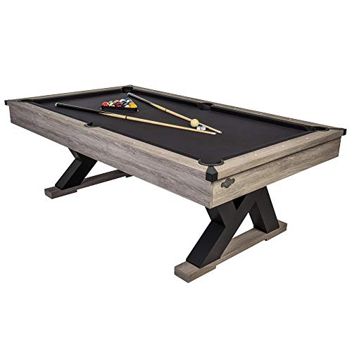 "American Legend Kirkwood 90"" Billiard Table with Rustic Finish, K-Shaped Legs and Black Cloth"