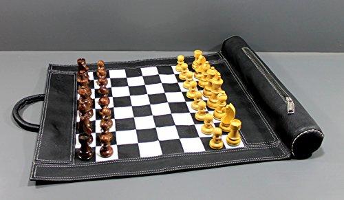 StonKraft 19 'x 15' (échiquier de Taille 12 'x 12') Véritable Jeu d'échecs en Cuir avec roulettes - avec pièces d'échecs en Bois - Couleur Noire | Livré avec Une Pochette de Transport innovante