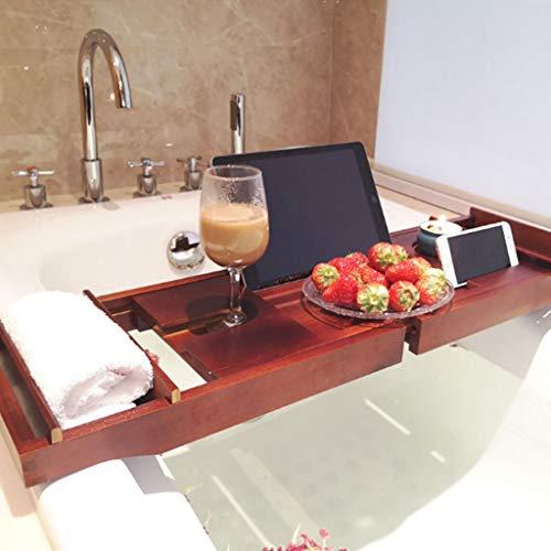Shelf Baignoire De Caddy Plateau De Bain en Bambou avec Verre à Vin, Tablette/Livre, Support pour Smartphone Longueur Réglable De 70 à 109 Cm