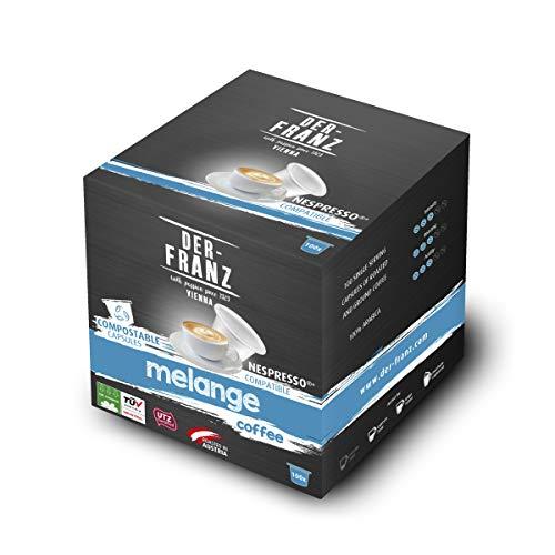 Der-Franz Melange Kaffeekapseln UTZ, 100 Kapseln, mit Nespresso kompatibel, 100% kompostierbar