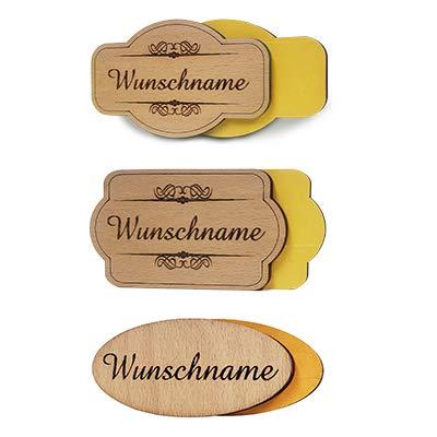 PISDEZ personalisiertes Vintage Türschild aus Holz - selbstklebend - Namensschild mit doppelseitigen Klebeband - Haustürschild mit Gravur - Briefkastenschild - Klingelschild