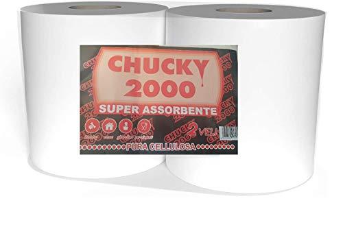 Bobina rotoloni Carta Asciugamani asciugatutto 1600 Strappi in Pura cellulosa Bianca per Uso Alimentare ed Industriale (2 Pezzi)