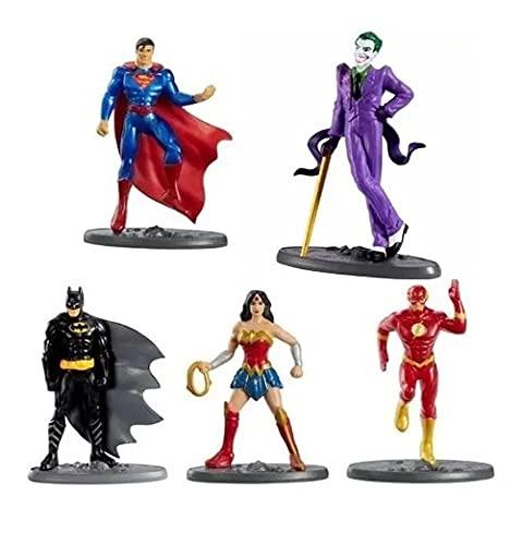 5 Bonecos Dc Liga Da Justiça Coleção Boneco Miniatura Colecionáveis Super Homem Batman Preto Coringa Flash Mulher Maravilha Super Man Heróis Mattel