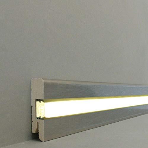 LED/Licht Fuß- u. SockelleistenChemnitz 58 x 16 mm MDF foliert / 716.733L| LED Sockelleiste | Lichtleiste | Inklusive weißer Abdeckung| Profisockelleisten- Edelstahl gebürstet Gr.2