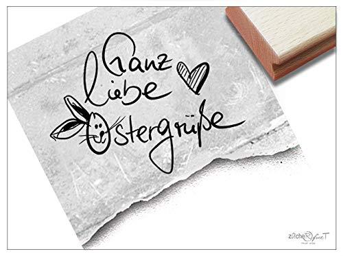 Stempel Osterstempel GANZ Liebe OSTERGRÜßE Handschrift Herz & Hase - Textstempel Ostern, Karten Geschenkanhänger Osterdeko Scrapbook - zAcheR-fineT