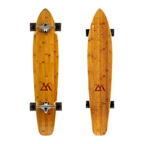 Magneto 44 inch Kicktail Cruiser Longboard Skateboard   Bamboo and Hard Maple Deck   Made for Adults, Teens, and Kids … (Black)