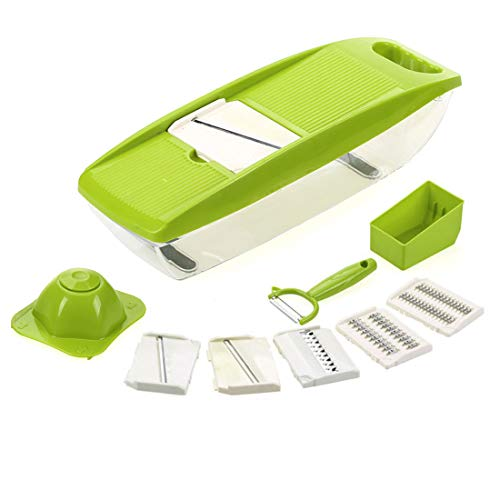 Mandolin Food Slicer 10 in 1 Multi-Function Vegetable Cutter with Interchangeable Blades Peeler Safety Hand Protector and Food Container for Potato Onion Carrot Tomato