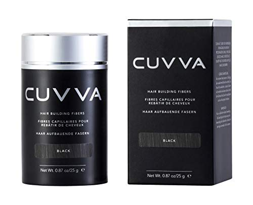 CUVVA Hair Fibers for Thinning Hair (BLACK) - Keratin Hair Building Fiber Hair Loss Concealer - Thicker Hair in 15 Seconds - 25g/0.87oz Bottle - For Men & Women