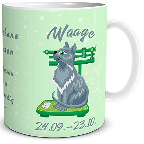 TRIOSK Tasse Katze lustig mit Spruch Sternzeichen Waage Katzenmotiv Geschenk Geburtstagstasse für Katzenliebhaber Frauen Freundin