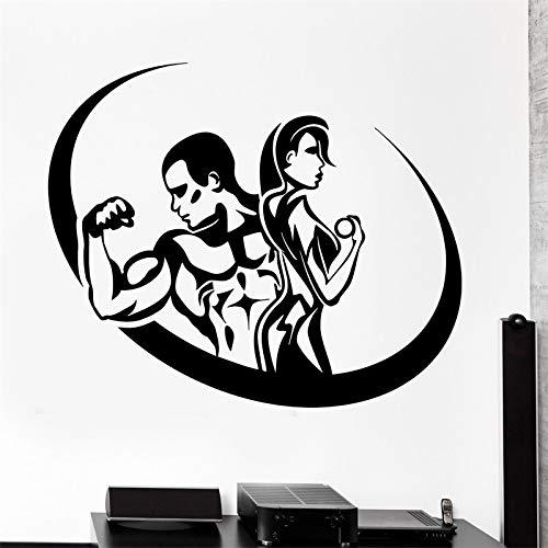 AKmene Vinilo Moderno Deporte Gym Hombre y Mujer Ventana hogar Pared Pegatina calcomanía48X58cm